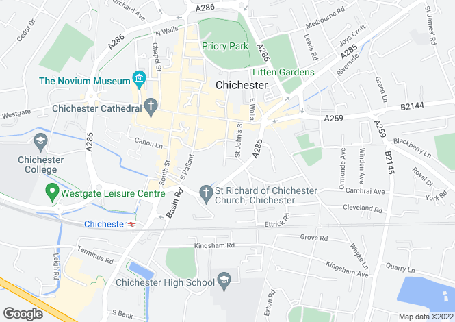 Map for Chichester City Centre, Chichester