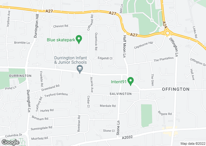 Map for Salvington Road, Worthing, BN13