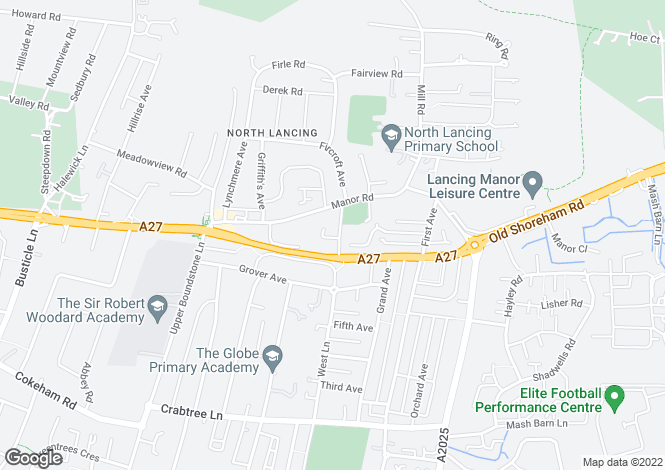 Map for Upper West Lane, Lancing