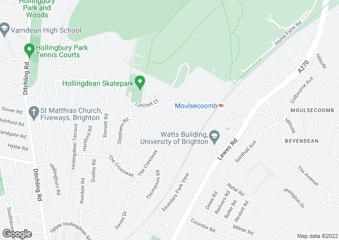 Map for WOLVERSTONE DRIVE, Hollingdean.(Close to Brighton university, schools and shops)