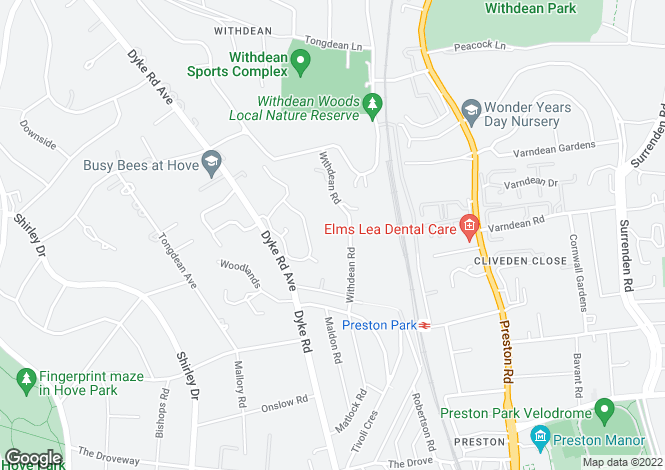 Map for Withdean Road Brighton East Sussex BN1