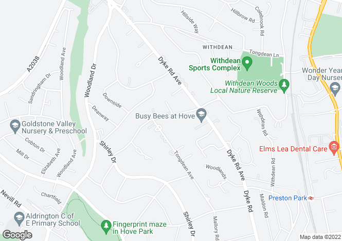 Map for Tongdean Road, Hove, East Sussex, BN3