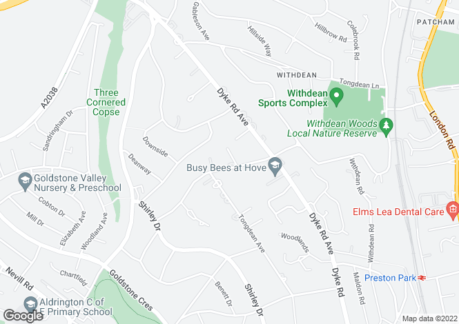 Map for Tongdean Road, Hove