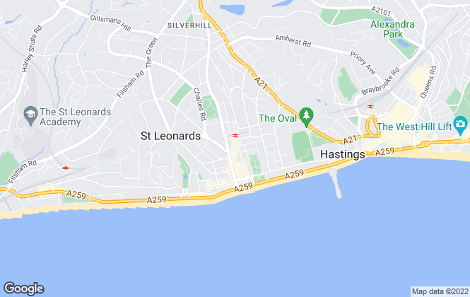 Map for Hunters, St Leonards-on-Sea