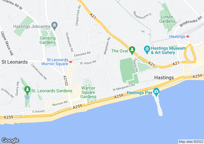 Map for Edward Road, St Leonards On Sea, East Sussex, TN37 6ES