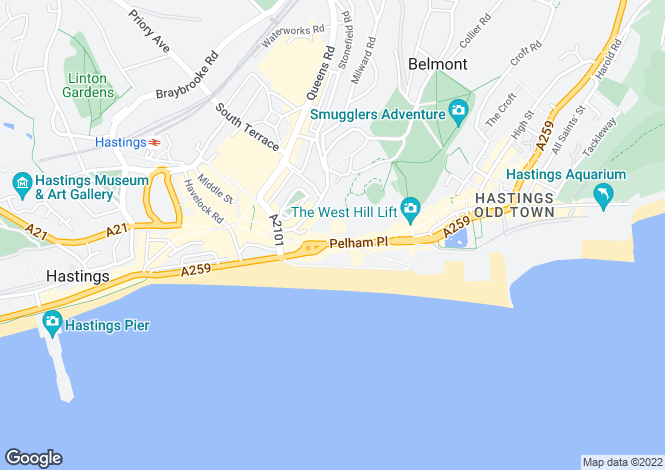 Map for TO LET, LUXURY SEAFRONT APARTMENT, Pelham Crescent, HASTINGS, East Sussex, TN34
