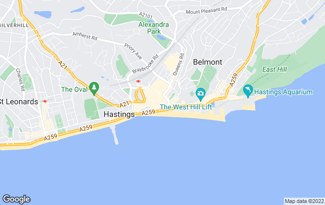 Map for The Property Cafe, Hastings