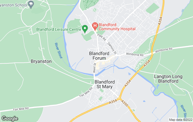 Map for Dorset Lettings, Blandford