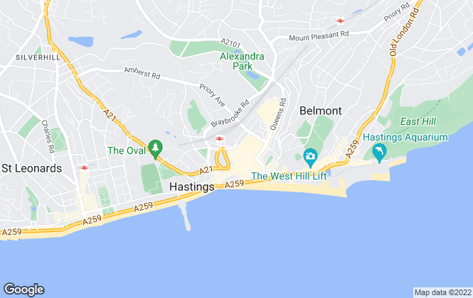 Map for Oakfield, Hastings