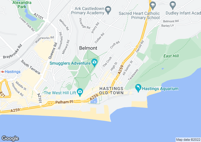 Map for Croft Road, Hastings, East Sussex