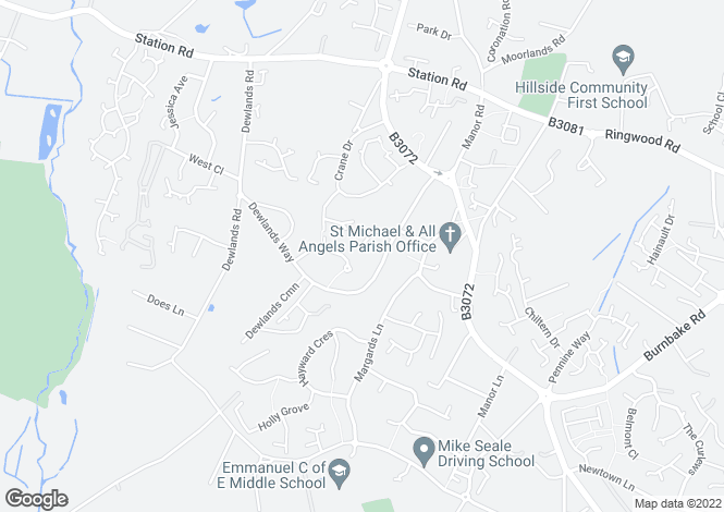 Map for Dewlands Way, Verwood