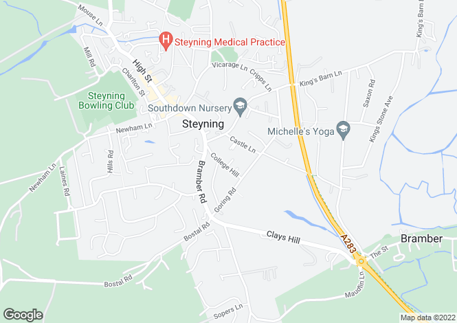 Map for College Hill, Steyning, West Sussex