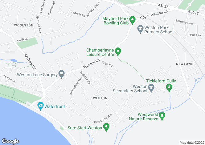 Map for Deeping Close, Weston, Southampton
