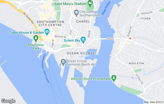 Map for Blue Bubble Lettings, Southampton
