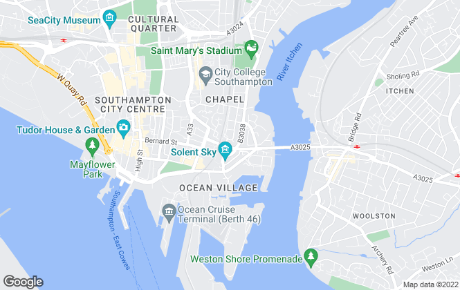 Map for Green City Lettings, Southampton