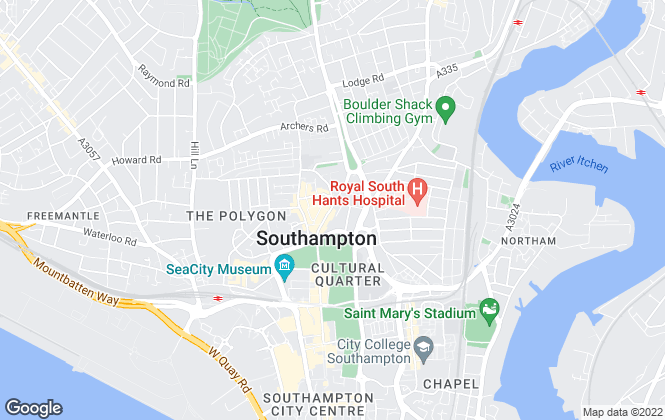 Map for Martin & Co, Southampton City- Lettings & Sales
