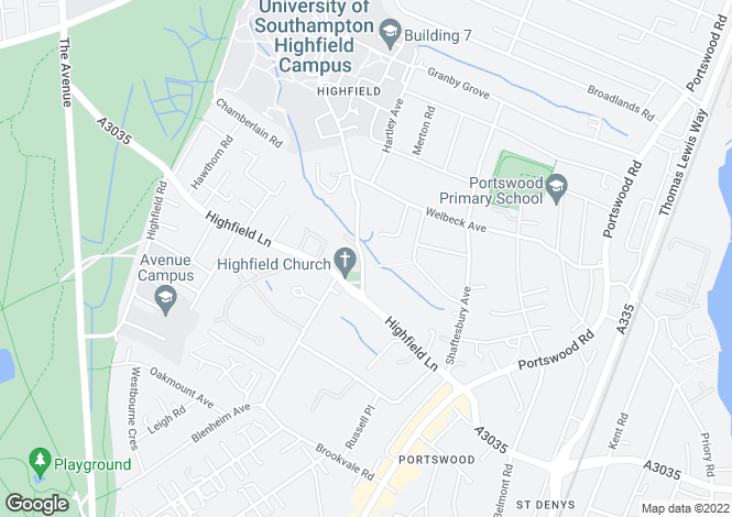 Map for Highfield, Southampton