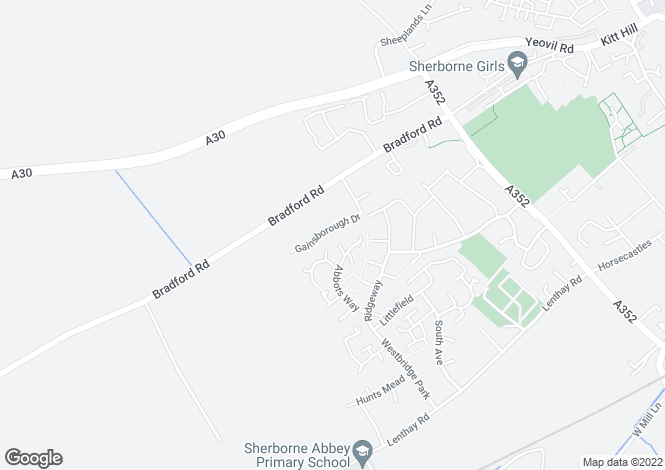 Map for Gainsborough Drive, Sherborne