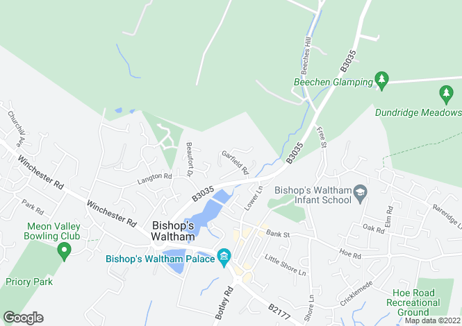 Map for Garfield Road, Bishops Waltham, Hampshire