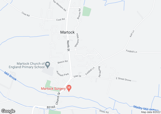 Map for Paulls Close, MARTOCK