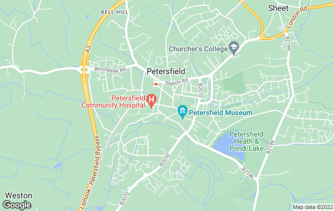 Map for Bourne, Petersfield
