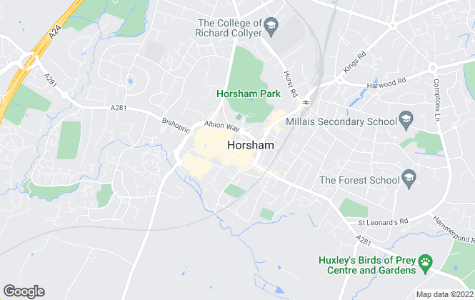 Map for Strutt & Parker, Covering Horsham