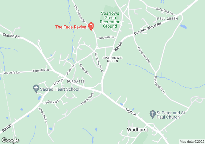 Map for Sparrows Green, Wadhurst