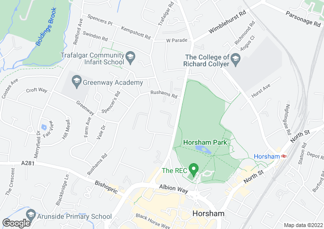 Map for Springfield Park, Horsham