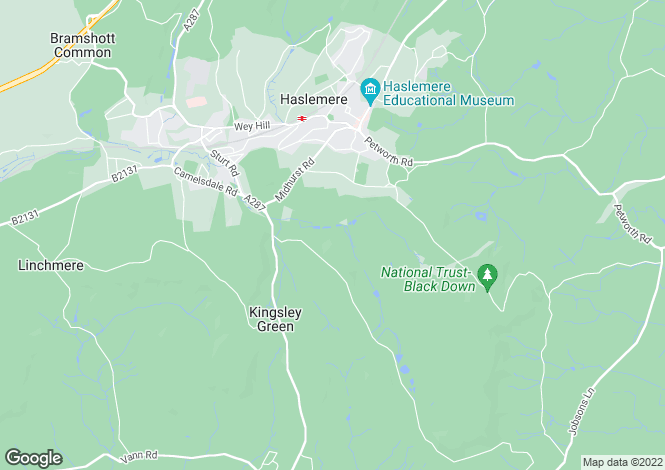 Map for Bell Vale Lane, Haslemere, Surrey, GU27