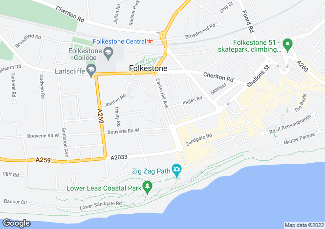 Map for Castle Hill Avenue, Folkestone, CT20