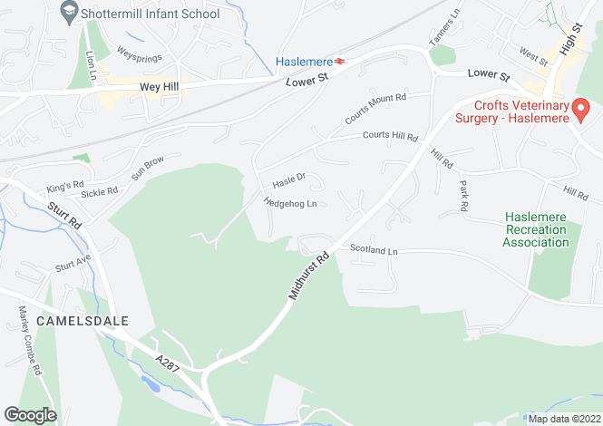 Map for Hedgehog Lane, Haslemere, Surrey, GU27