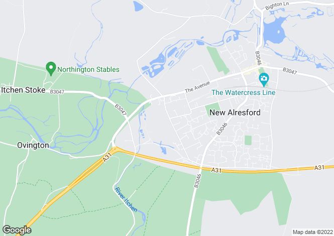Map for ALRESFORD an exceptionally spacious family residence on the outskirts of the town and enjoying distant westerly views