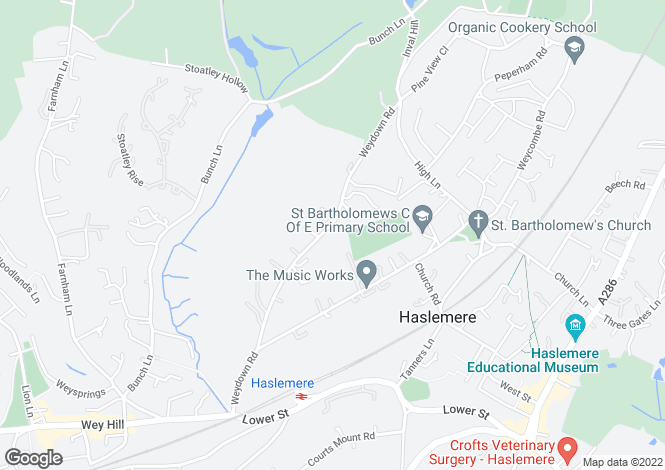 Map for Weydown Road, Haslemere. GU27 1DS