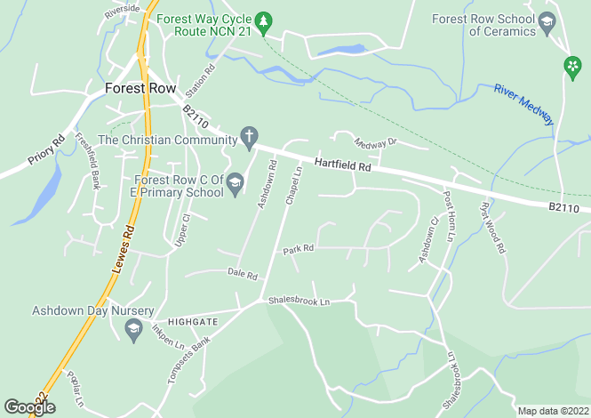 Map for Chapel Lane, Forest Row, East Sussex  RH18 5BU