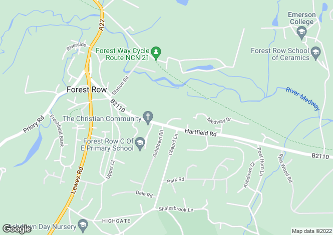 Map for Hartfield Road, Forest Row, East Sussex, RH18 5EA