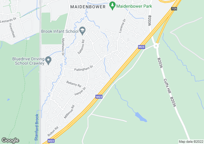 Map for Birchwood Close, Maidenbower, Crawley