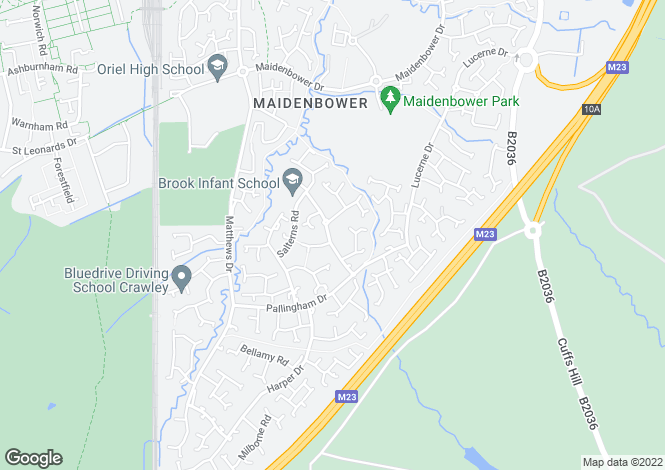Map for Maidenbower, Crawley
