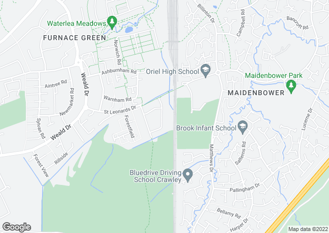 Map for Marion Road, Furnace Green, Crawley