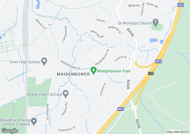 Map for Delfont Close, Maidenbower, Crawley