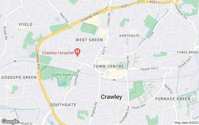 Map for Cubitt & West, Crawley