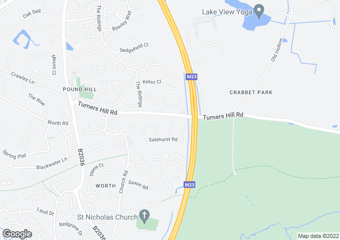 Map for TURNERS HILL ROAD, WORTH, CRAWLEY