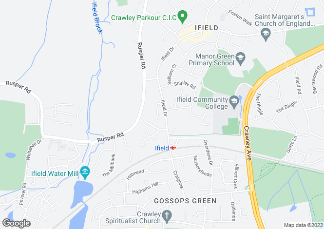 Map for Ifield Drive, Crawley