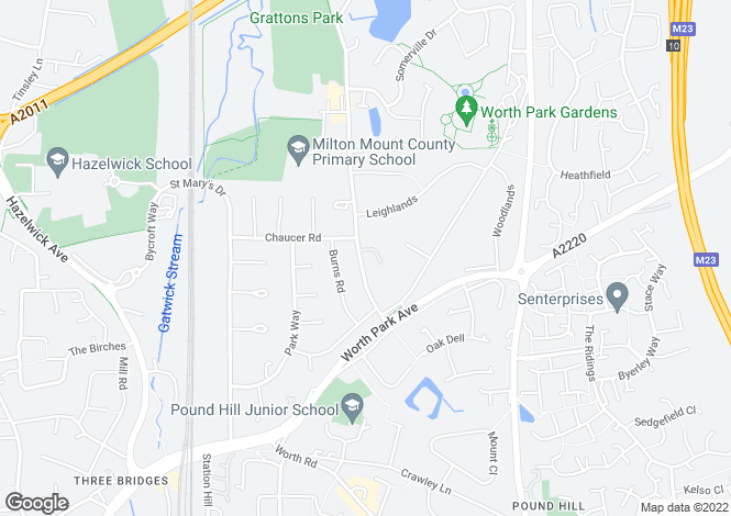 Map for Grattons Drive, Pound Hill, Crawley, West Sussex