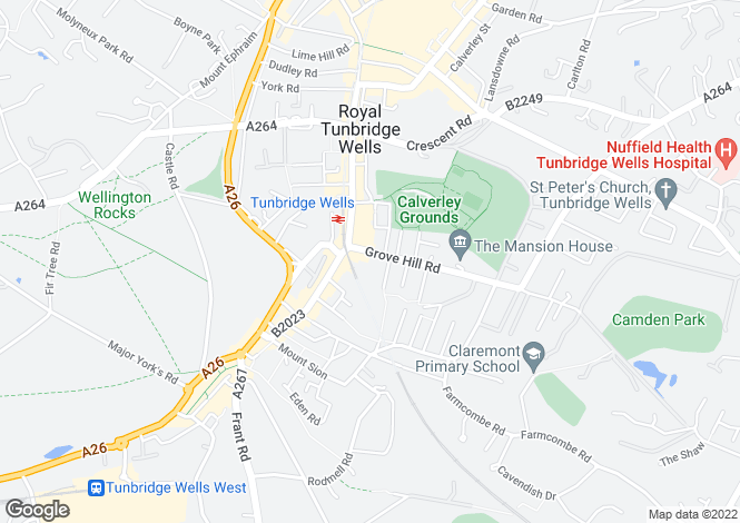 Map for Grove Hill Road, Tunbridge Wells, Kent, TN1