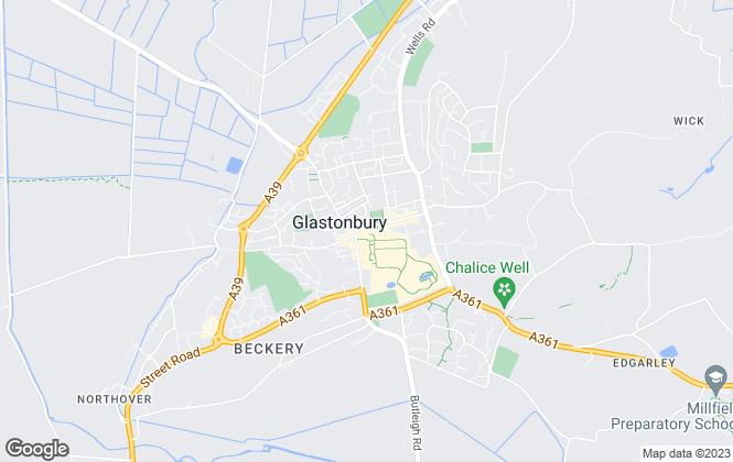 Map for Tor Estates, Glastonbury & Street