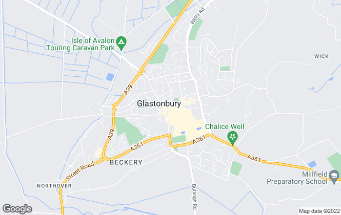 Map for Tor Estates, Glastonbury & Street