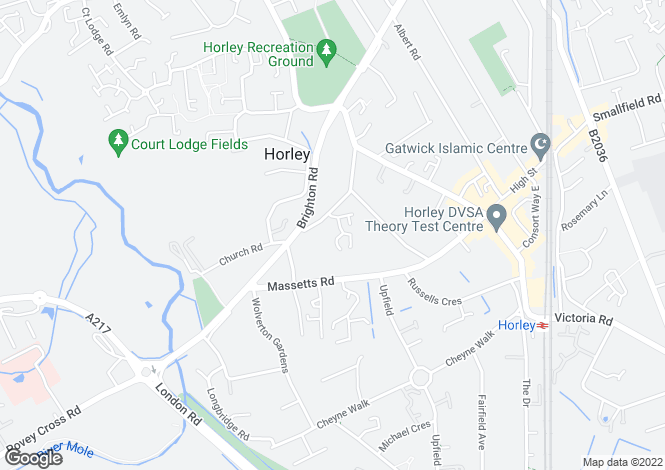 Map for Pine Gardens, Horley, RH6