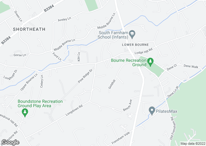 Map for Longdown Close, Lower Bourne, Farnham, Surrey