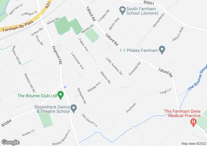 Map for Mavins Road, Farnham, Surrey, GU9
