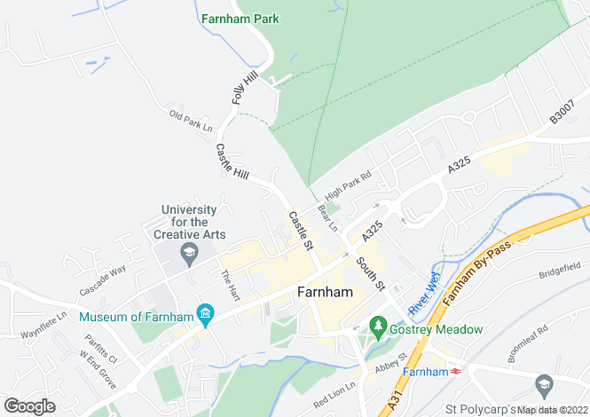 Map for Castle Street, Farnham, Surrey, GU9